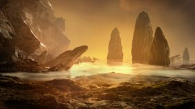 Fantasy landscape with fog, water and stone royalty free stock photos