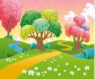 Fantasy landscape. Funny cartoon and vector illustration Royalty Free Stock Photos