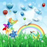 Fantasy landscape with grass, pinwheels and flying fishes. Vector illustration eps10 stock illustration