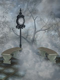 Fantasy landscape. In the heaven with tree abd chair Stock Photos