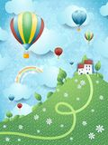 Fantasy landscape with hill and hot air balloons Royalty Free Stock Photos