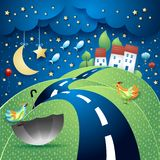 Fantasy landscape with hill, road, village, umbrella and flying fishes. Vector illustration eps10 vector illustration