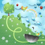 Fantasy landscape with hill, tree, umbrella and flying fishes. Vector illustration eps10 stock illustration