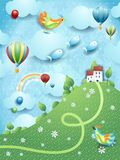 Fantasy landscape with hill, village and flying fishes. Vector illustration eps10 vector illustration