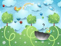 Fantasy landscape with hills, birds, balloons and flying fishes. Vector illustration eps10 stock illustration