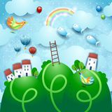 Fantasy landscape with hills, stairway, villages and flying fishes. Vector illustration eps10 stock illustration