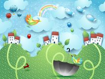 Fantasy landscape with hills, umbrella and flying fishes. Vector illustration eps10 royalty free illustration