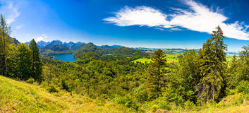 Fantasy landscape in hohenschwangau. Panoramic of fantasy landscape in hohenschwangau Stock Image