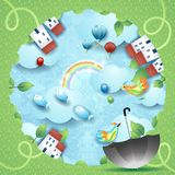 Fantasy landscape with hole, umbrella and flying fishes. Vector illustration eps10 vector illustration