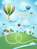 Fantasy landscape with hot air balloons and river. Illustration Stock Photography