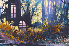 Fantasy landscape with house in tree trunk. Illustration painting royalty free illustration