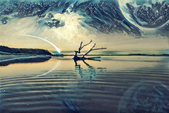 Fantasy landscape Illustration artwork -  Lake and and Hills wit. H driftwood reflecting in the water, huge planet in the sky, galaxy and comet Royalty Free Stock Images