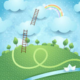 Fantasy landscape with ladders and river Stock Photo