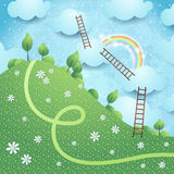Fantasy landscape with ladders Royalty Free Stock Photo