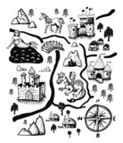 Fantasy landscape map with Fairy tale castle, dragon, unicorn, mermaid. Old medieval treasure cartography, hand drawn. In vector vector illustration