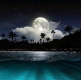 Fantasy landscape - moon, lake and fishing boat Stock Photos