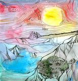 Fantasy landscape with mountains, lakes and trees. Colorful sky with bright yellow sun. Hand drawn picture.  stock illustration