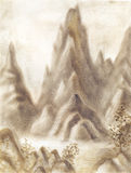 Fantasy landscape with mountains in sepia colour. Hand-drawn ill Stock Image