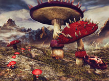 Fantasy landscape with mushrooms vector illustration
