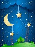 Fantasy landscape by night Stock Photos