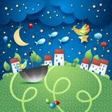 Fantasy landscape by night with villages, umbrella and flying fishes. Vector illustration eps10 vector illustration