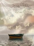 Fantasy Landscape. In the ocean with boat and birds Royalty Free Stock Image