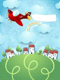 Fantasy landscape with plane and banner Royalty Free Stock Photo