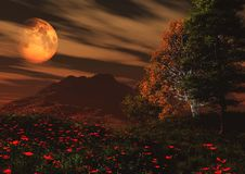 Fantasy landscape. With poppies in foreground and planet in background Stock Images
