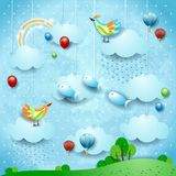 Fantasy landscape with rain, balloons, birds and flying fisches. Vector illustration eps10 royalty free illustration