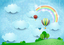 Fantasy landscape with rain and hot air balloons Royalty Free Stock Image