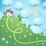 Fantasy landscape with rainbow Stock Photos