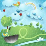Fantasy landscape with river, tree, umbrella and flying fishes. Vector illustration eps10 royalty free illustration