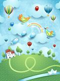 Fantasy landscape with river, village and flying fishes. Vector illustration eps10 stock illustration