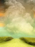 Fantasy Landscape. In the road on a cloudy day Stock Photography