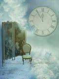Fantasy landscape. In the sky with big clock vector illustration