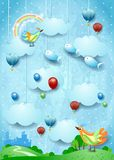 Fantasy landscape with skyline, birds, balloons and flying fisches. Vector illustration eps10 royalty free illustration