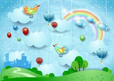 Fantasy landscape with small city, balloons, birds and flying fisches. Vector illustration eps10 royalty free illustration