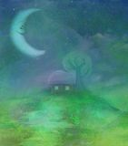 Fantasy landscape with smiling moon Stock Image