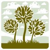 Fantasy landscape with stylized tree, peaceful scene. Season Royalty Free Stock Image