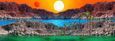 Fantasy landscape with sun, red moon, rocks and blue lagoon. All the originals are taken in Cyprus in 2018 stock photos