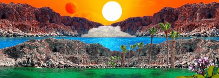 Fantasy landscape with sun, red moon, rocks, light house, mist a. Unreal landscape with sun, red moon, rocks, light house, mist and blue lagoon. All the stock images