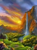 Fantasy landscape at sunset royalty free stock images