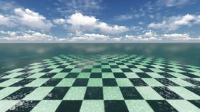 Fantasy landscape. A surreal fantasy landscape of a  checkerplane with  clouds in the horizon Royalty Free Stock Images