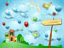 Fantasy landscape with town, arrow sign, birds and flying fisches. Vector illustration eps10 royalty free illustration