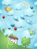Fantasy landscape with tree, birds, balloons and flying fishes. Vector illustration eps10 vector illustration