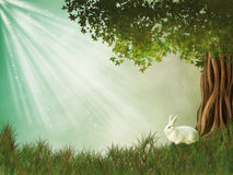 Fantasy Landscape. With tree and rabbit Stock Image