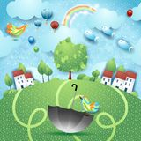 Fantasy landscape with umbrella, birds and flying fishes. Vector illustration eps10 vector illustration