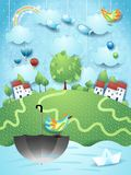Fantasy landscape with umbrella, birds and flying fishes. Vector illustration eps10 royalty free illustration