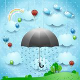 Fantasy landscape with umbrella, rain, balloons and flying fishes. Vector illustration eps10 stock illustration