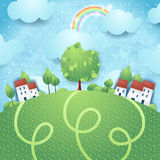 Fantasy landscape with village and big tree Royalty Free Stock Images
